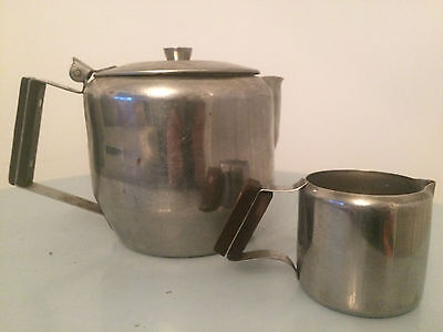 CATERING STAINLESS STEEL POLISHED 800ml TEA POT AND 100ml MILK JUG