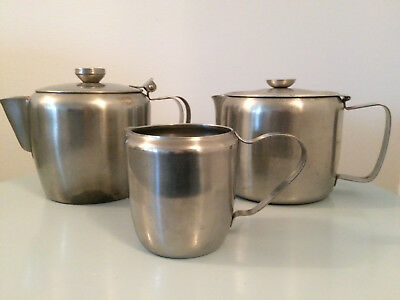 2 CATERING RESTAURANT STAINLESS STEEL 800ml TEA POT INC 1 MILK JUG 250ml