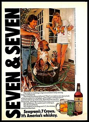 1975 Seagrams 7 Crown Whiskey 7 Up Soda Mix Vintage PRINT AD Washing Dog 1970s