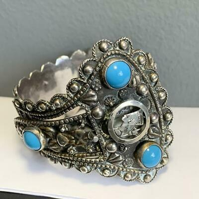 Vintage Art Deco Egyptian Revival Silver Scarab Cuff Bracelet