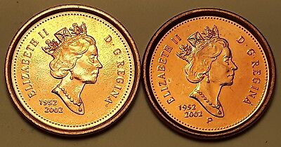 (Lot of 2)  2002 Non-Magnetic & Magnetic Zinc/Steel Canada 1 Cent Penny Coin AU