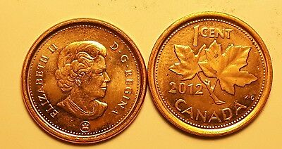Magnetic /& Non Magnetic UNCIRCULAT 4X 1 Cent Canadian Penny One ¢ 2012 Canada