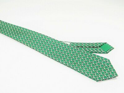 bcc4ae272642 Men's HERMES Silk Tie Necktie MADE IN FRANCE 59 EA SILVER CHAIN LINK GREEN