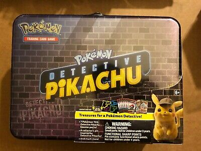 Pokemon TCG Detective Pikachu Collectors Chest Lunch Box 9 Booster Packs IN HAND
