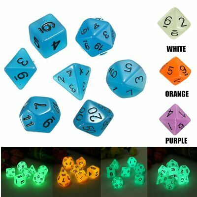 7Pcs/Set Polyhedral Dice Game Luminous Dice Set Board for Magic-the-Gathering