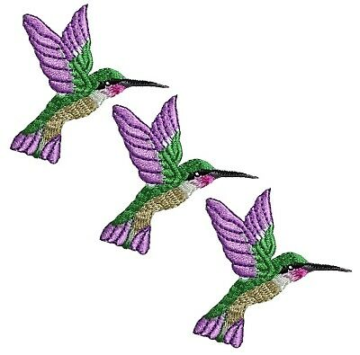 Hummingbird Applique Patch - Purple, Green (3-Pack, Small, Iron on)