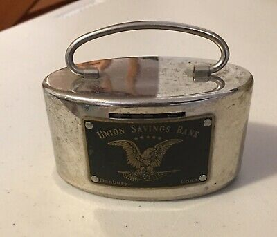 Vintage Coin Bank STAINLESS STEEL Danbury Union Savings Bank