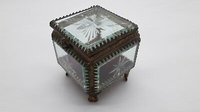 Vintage French box of glass with monograms for jewelry