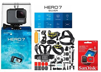 New SEALED GoPro HERO7 SILVER HD Waterproof camera with 40 Sports Accessories!