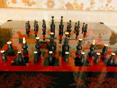 "Atq Early 20th-C Chinese Lacquered Folding Chess/Backgammon/Checkers Set 3"" K"