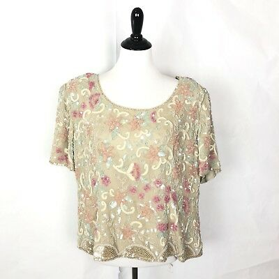 ccc56c985e3 Adrianna Papell Plus Size Beaded Top Evening Wear Sequin Blouse Women Size  16