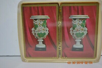 Vintage Double Deck of Congress Canasta Antique Urn Playing Cards  in Holder