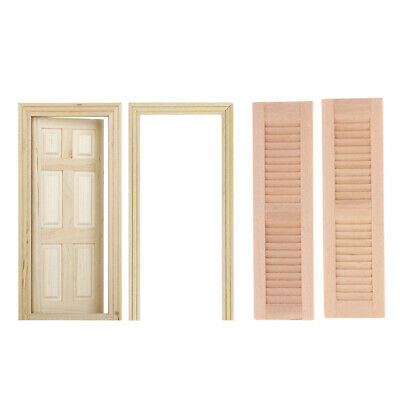 1//12 Dollhouse Miniature 6 Panel Interior Wooden Door DIY Wood Color B9H4 1X