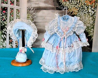 Vintage Style Doll  BLUE DRESS & HAT set 4 French Child China Antique 16""