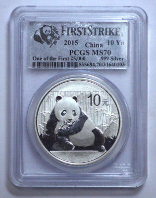 2015 China 10 Yn 999 Silver Panda PCGS MS70 First Strike (One of First 25,000)!