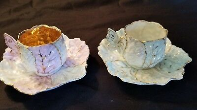 """Vintage Mini Cup/saucers, Cabbage Leaf Design, Butterfly Handle 1 7/8""""h"""