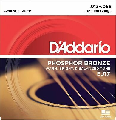 EJ17 Phosphor Bronze Medium Guitar Strings 13-56 D'Addario