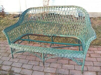 Antique Vintage Heywood Wakefield Rattan Wicker Love-seat sofa Old Green Paint