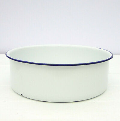 Vintage Retro Blue White Enamel Oven Pie Cake Baking Dish Tin