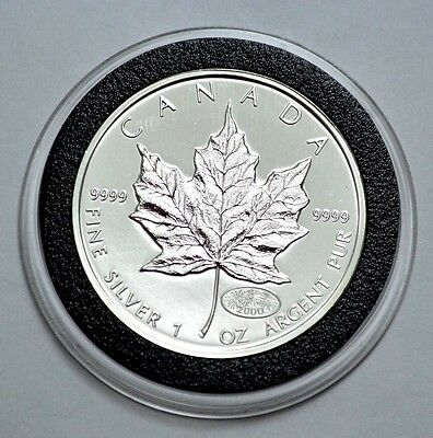 RARE 2000 Canadian Maple Leaf 1 Oz .9999 Fine Silver, Fireworks 2000 Privy