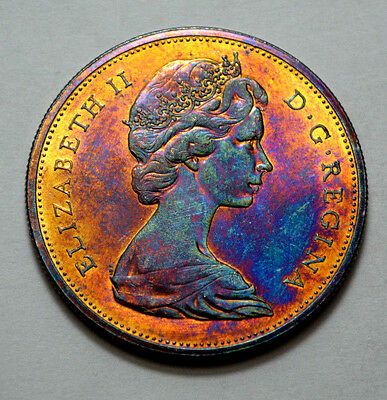 1965 PL Canada Silver $1.00 Dollar Rainbow Toned UNC/MS , SMALL BEADS POINTED 5!