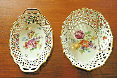 2 SCHUMANN Bavaria Dresden China Open Lace Basket Dish Bowls ~ Flowers Gold Trim