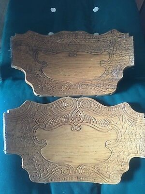 "2 Wood Architectural Salvage Carved Pediments Oak Press Back Chair 17"" Parts"
