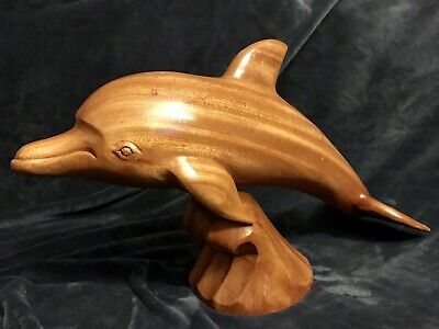 "Hand Carved Wooden Wood Dolphin Sculpture Figurine Statue Marine Fish 20"" D"