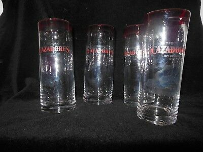 Rare Cazadores Tequila Tall Glass Red & Black Logo and Root Beer Brown Color NEW