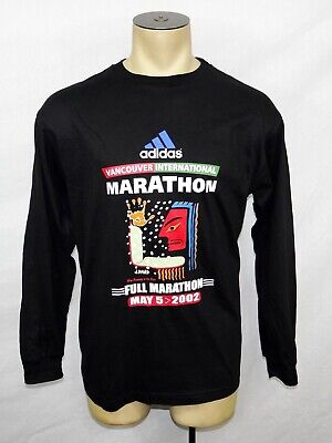 Vtg 2002 Adidas Vancouver Marathon Joe David native art black l/s t-shirt Medium