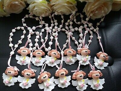 12 hanging Rosaries Baptism  First Communion party Favors //12 clay rosary favors