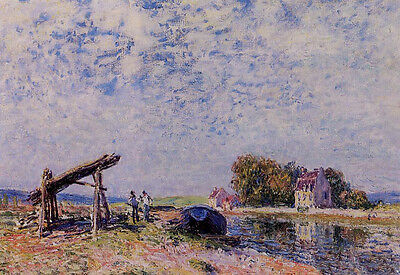 Stunning Oil painting Alfred Sisley - The Loing Canal at Saint-Mammes canvas