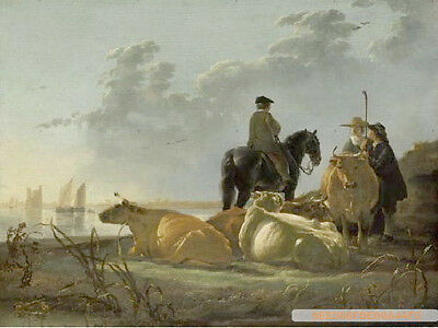 """Beautiful Oil painting Aelbert CUYP farmers with cows by the river on canvas 36"""""""