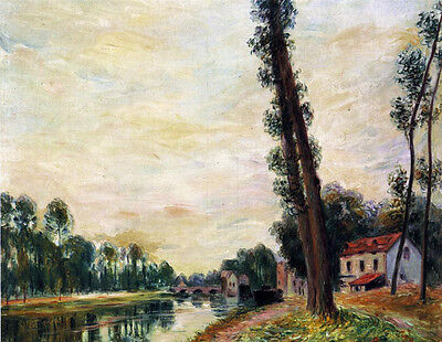 Huge Oil painting Alfred Sisley - The Banks of the Loing with river