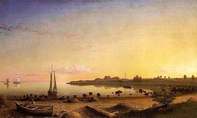 """Oil painting Fitz Hugh Lane - Stage Fort across Gloucester Harbor canvas 24""""x36"""""""