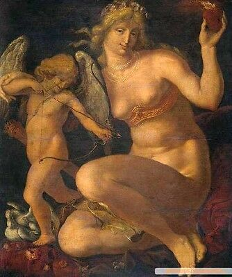 Stunning Oil painting Jacques de Gheyn II Venus with angel cupid on canvas 36""