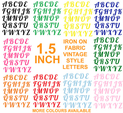 """IRON ON die cut Fabric LETTERS! 1.5"""" apx in Size, Multi Colours! VINTAGE STYLE"""
