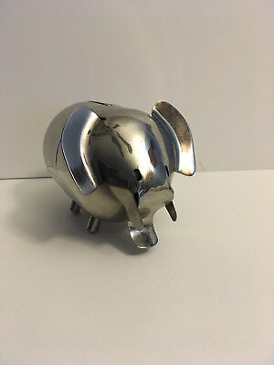 Vintage Chrome 2 Piece Elephant Bank RAIMOND INC 1959 Valley National Bank
