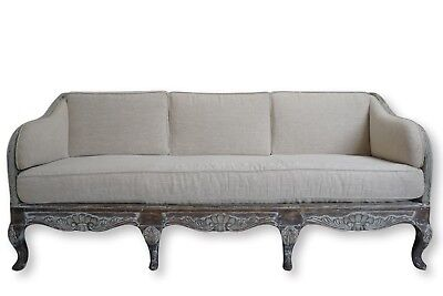 French Louis XV Style Belgian Linen Canape Sofa