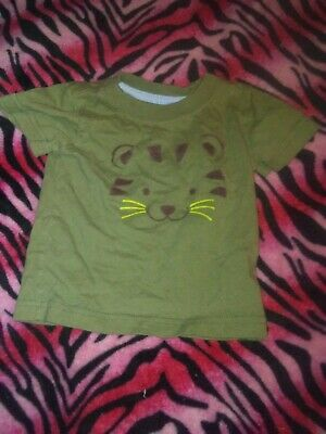 baby boy tiger/lion shirt olive green size 3-6 months