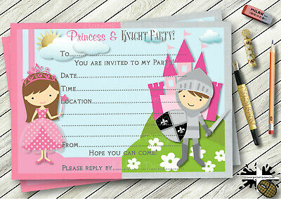 TH140 Princess And Knight Personalised Birthday Party Invitations