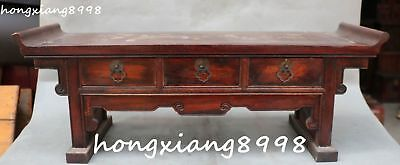 Collection China Huanghuali Wood Dynasty Classical Furniture Table Desk 3 Drawer