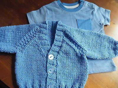 """17"""" (0-3mths)- V-neck cardigan for Baby Boy +T-shirt ~(NEW) Mid Blue~Hand Knit"""
