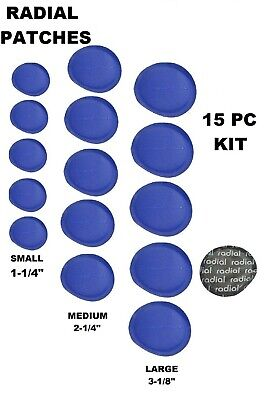 15 Pc Radial Tire Patch Round Repair Large Medium Small Assorted Kit