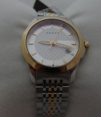 bcb86f281e3 GUCCI G-TIMELESS SILVER Dial Two Tone Gold YA126409 38mm Watch ...