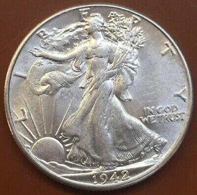 1942-P Walking Liberty Silver Half Dollar AU Almost Uncirculated Coin #4 - TCC