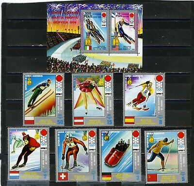 Equatorial Guinea 1972 Winter Olympic Games Sapporo Set Of 7 Stamps & S/S Mnh