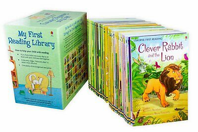 Usborne My Very First Reading Library 50 Paperback Picture Books kids leaning .