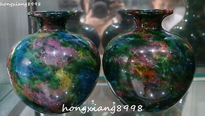 Exquisite Taiwan Seven Colored Natural Jade Hand Carved Vase Bottle Jar Jug Pair