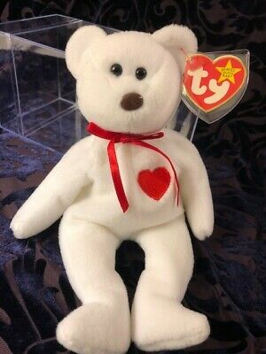 04a01a77554 1993 1994 Ty Valentino Beanie Baby Bear Heart with Errors White EXTREMELY  RARE!